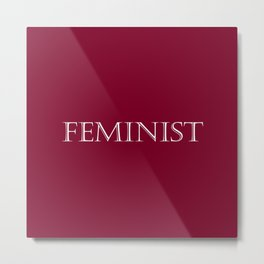 Feminist - Red and White Metal Print