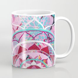 Pink and Turquoise Mixed Media Mandala Coffee Mug