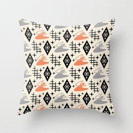 Mid Century Modern Boomerang Abstract Pattern Gray and Orange 161 Throw Pillow