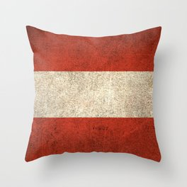 Old and Worn Distressed Vintage Flag of Austria Throw Pillow
