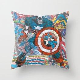 The American Superhero - Comic Art Throw Pillow
