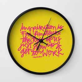 Inspiration is for amateurs x typography Wall Clock