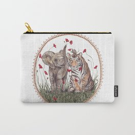 Tiger, Baby Elephant, and Mouse Playing in Poppies Carry-All Pouch