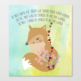 Tamed Fox Little Prince Canvas Print