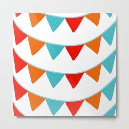 Red Orange and Turquoise Banner Pattern Metal Print