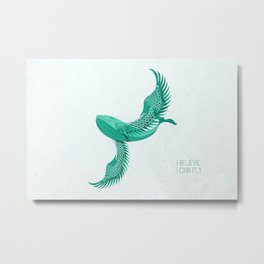 Blue whale with wings Metal Print