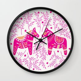 Swedish Dala Horses – Pink Palette Wall Clock