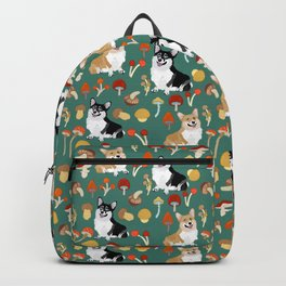 Happy Corgis In Fall Forest Searching For Mushrooms I - Teal  Backpack
