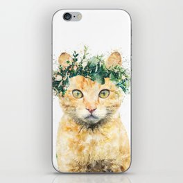 Boho Watercolor Cat, Cat Lady, Plant Lady, Funny cute Cat, home decor, nursery animal wall art iPhone Skin