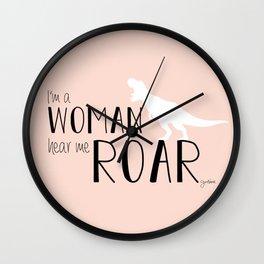 I'm a Woman Hear Me Roar - Pink Version - Dinosaur - Jess Novak Lyric Print Wall Clock