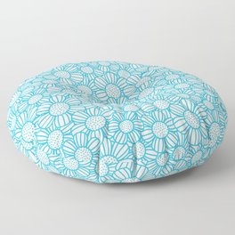 Field of daisies - teal Floor Pillow