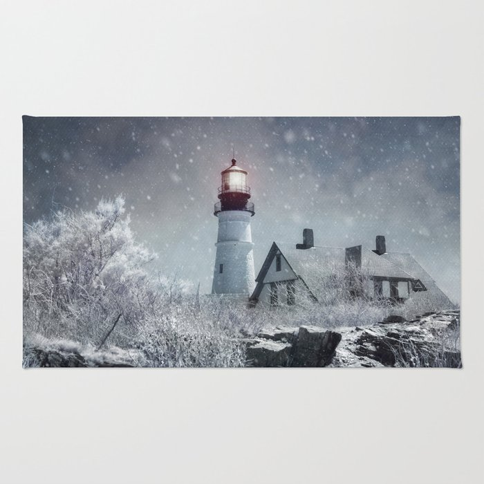 New England Winter Lighthouse Rug