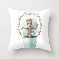 groot Throw Pillows featuring Baby Groot by Pendientera