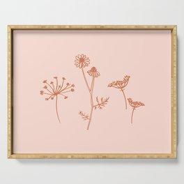 Wildflower Line Art Serving Tray