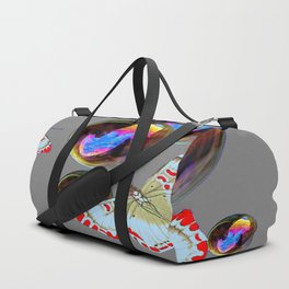 SURREAL WHITE-RED BUTTERFLIES & BUBBLES Duffle Bag