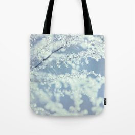 Ice Blue Delicate Flowers Tote Bag