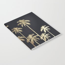 Glamorous Gold Tropical Palm Trees on Black Notebook