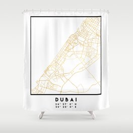 DUBAI UNITED ARAB EMIRATES CITY STREET MAP ART Shower Curtain