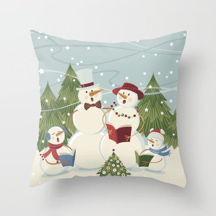 Christmas Song / Snowmen Throw Pillow
