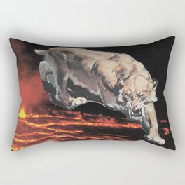 lavacat ~ animal paper collage surreal weird mountain lion volcano funny Rectangular Pillow