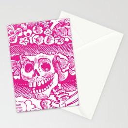 Calavera Catrina | Skeleton Woman | Pink and White | Stationery Cards