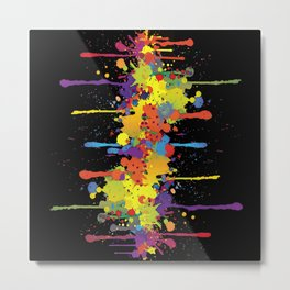 Crazy Multicolored Double Running Splashes Metal Print