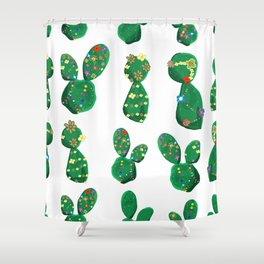 Cactus With Colorful Hawaiian Shower Curtain