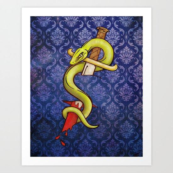 Knife and Snake tattoo print Art Print