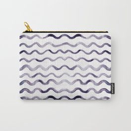 Purple Watercolor Waves Carry-All Pouch