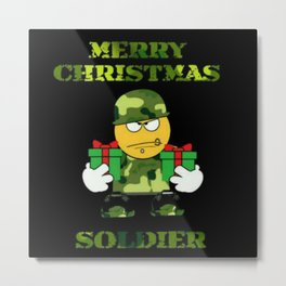 Merry Christmas emoji soldier Metal Print