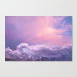 Sunset and Clouds | Blush Pink | Unicorn | Sky Canvas Print