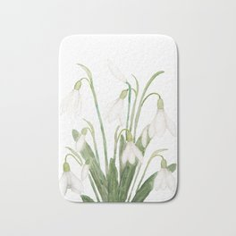 white snowdrop flower watercolor Bath Mat