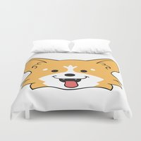 corgi Duvet Covers featuring Corgi by Sugar and Spice Menagerie