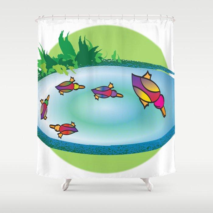 Lucky Ducks Shower Curtain