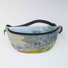 Watercolor landscape with trees, fields and mountains Fanny Pack