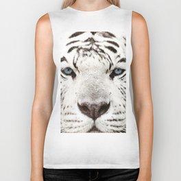 Bengal White Tiger Close Up (Panthera tigris tigris) Biker Tank