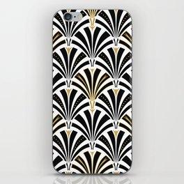 Art Deco Fan Pattern, Black and White iPhone Skin
