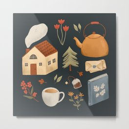Cozy Cottage Pattern Metal Print