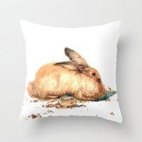 bunny Throw Pillows featuring Bunny by Ivanushka Tzepesh