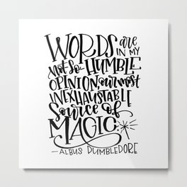 Words are Magic Metal Print