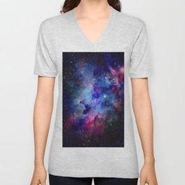 Blue Glitter Galaxy Unisex V-Neck
