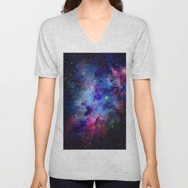 Blue Glitter Galaxy Unisex V-Neck