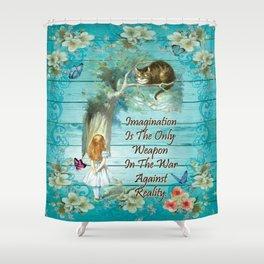 Floral Alice In Wonderland Quote - Imagination Shower Curtain