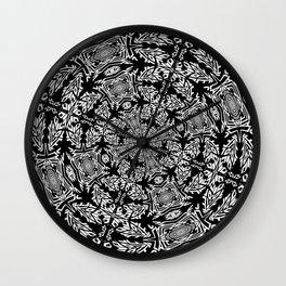 Fallen Leaves Black and White Kaleidescope Wall Clock