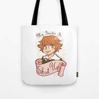 dangan ronpa Tote Bags featuring My gender is... SHUT UP! by AMC Art