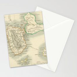 Vintage Map of Guadeloupe (1856) Stationery Cards