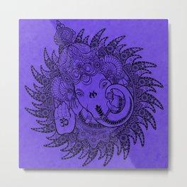 Ganesha Lineart Lilac Metal Print