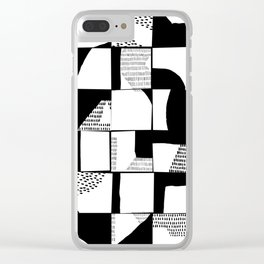 Black and White Typographical Fragmentation Cheater Quilt Clear iPhone Case