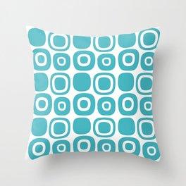Mid Century Modern Garden Path Pattern 365 Turquoise Throw Pillow
