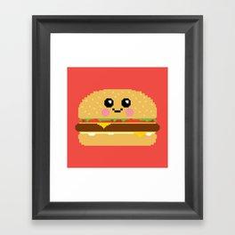 Happy Pixel Hamburger Framed Art Print